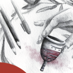 An illustrated hand holds a menstrual cup with blood in it. The cup appears to be outfitted with sensors.